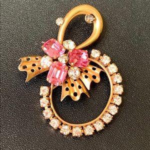 PHYLLIS Vintage Pin/Pendant Gold Filled Pink Rhine